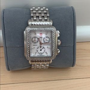 Michele deco diamond watch white mother of pearl